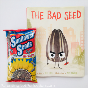 The Bad Seed with bag of sunflower seeds