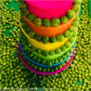 rainbow tower with peas