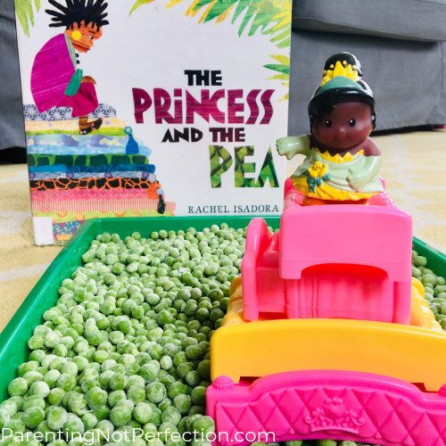 The princess and the pea book, tray of frozen peas with stacked beds and little princess on top