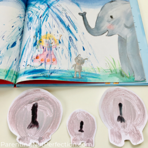 Elephant butt balloon prints next to page in story with elephants