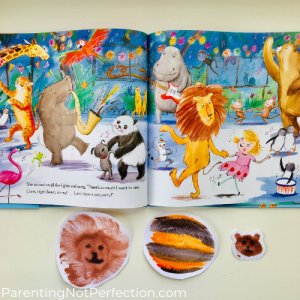 Lion, tiger and bear prints next to page in story showing lions, tigers and bears.
