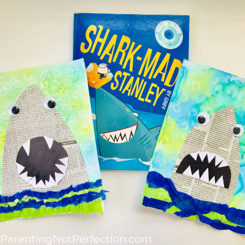 Newspaper shark art with Shark-Mad Stanley book