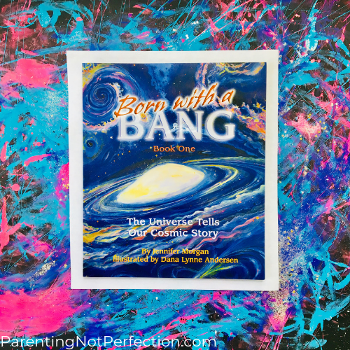 born with a bang book and galaxy print under it