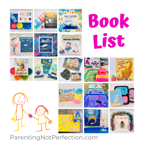 Book List text with thumbnail photos of books and activities with logo