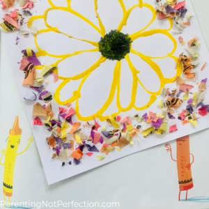 yellow sunflower melted crayon art