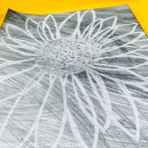 an eraser drawing of a sunflower