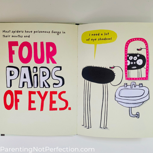 "inside look at ""the Spider"" showing playful illustration of a spider putting eye shadow on her four pairs of eyes."