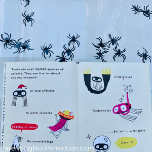 "inside look at ""the Spider"" book with water and spider rings in the background"