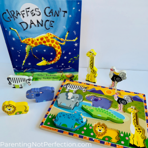 """Giraffes can't dance"" paired with chunky safari puzzle"