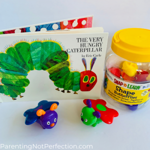 "bookish gift idea 8 - ""The Very Hungry Caterpillar"" paired with snap-n-learn butterfly toy"