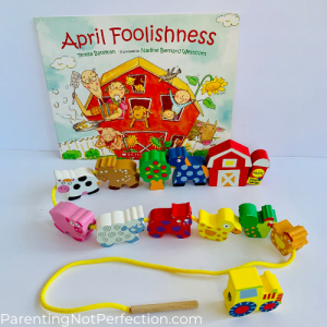 "bookish gift idea 11- ""April Foolishness"" paired with string a farm toy"