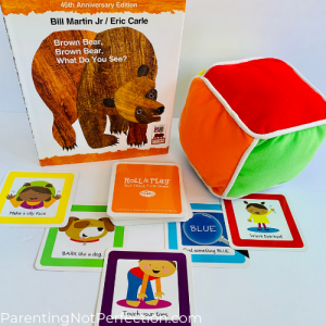 "bookish gift idea 13 - ""Brown bear, brown bear, what do you see?"" paired with roll and play game for toddlers"