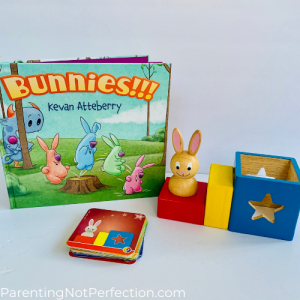 """bunnies!!!"" paired with Bunny peek a boo puzzle game"