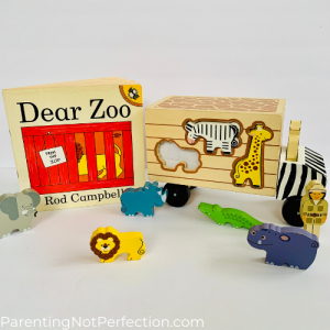 """Dear Zoo"" paired with animal rescue shape sorting truck"