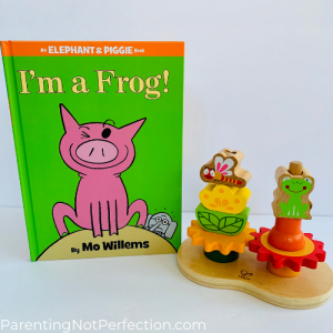 "bookish gift idea 17 - ""I'm a frog!"" paired with spinning gears garden stacker toy"