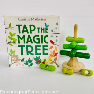 "bookish gift idea 15 - ""Tap the magic tree"" paired with stacking tree toy"
