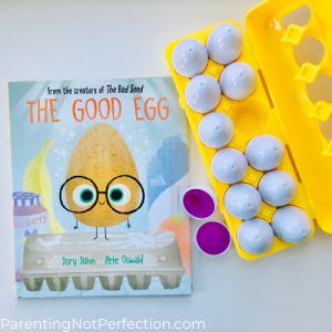 "bookish gift idea 1 is ""the good egg"" book with egg color and shape matching game next to it."