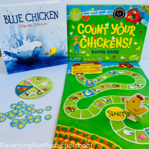 """Blue Chicken"" book paired with count your chickens game"