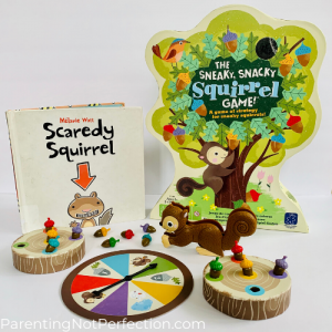 """Scaredy squirrel"" paired with sneaky snacks squirrel gam"