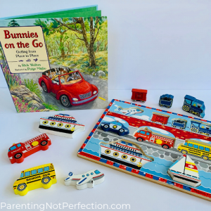 """Bunnies on the go"" paired with vehicles wooden chunky puzzle"