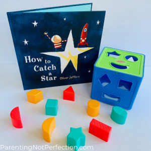 "bookish gift idea 9 - ""How to catch a star"" paired with a shape sorter"