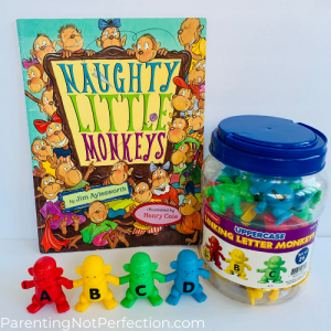 """Naughty Little Monkeys"" paired with linking letter monkeys toy"