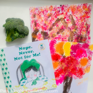 Nope. Never. Not for Me! book with a piece of real broccoli and broccoli painted tree art