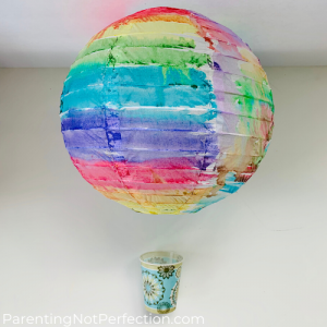 a lantern and dixie cup hot air balloon glitter sprinkler