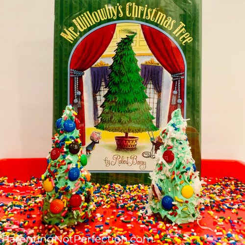 Mr. Willowby's Christmas Tree with edible trees on tray with sprinkles