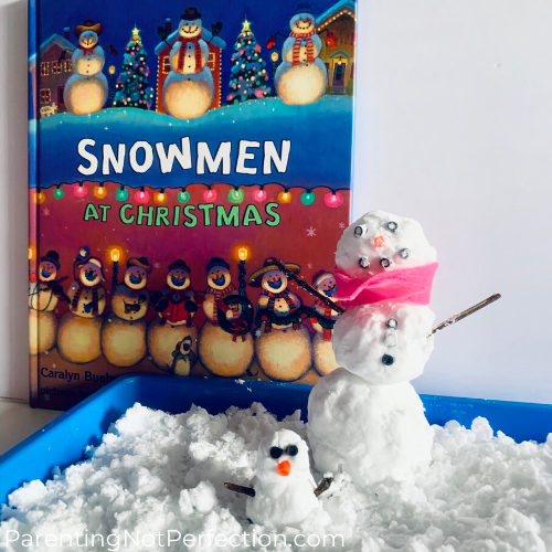 snowmen at christmas book with snow play