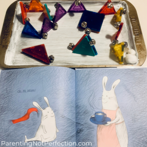 """magnetic tile maze and photo from """"Bunny Slopes"""" of little bunny and her Mommy"""