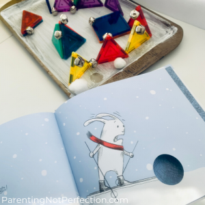 """magnetic tile maze and photo from """"Bunny Slopes"""" of little bunny looking scared at the hole in the page"""