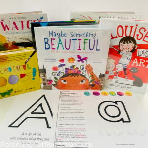 """A is for Artist"" masterpiece alphabet curriculum with book recommendations"