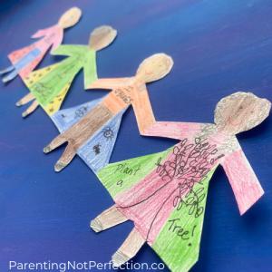 close up of paper dolls celebrating women's history