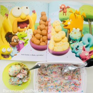 """Scaredy Kate"" book opened to monsters sharing ice cream together along with our sensory made ice cream."