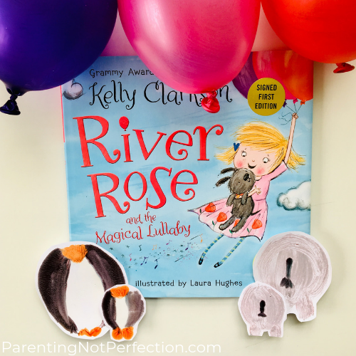 River Rose and the magical lullaby book, balloons and animal art