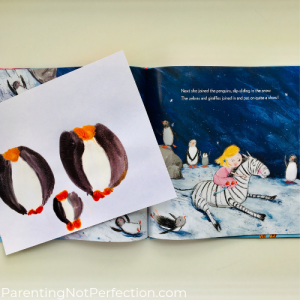 Penguin prints next to page in story showing penguins