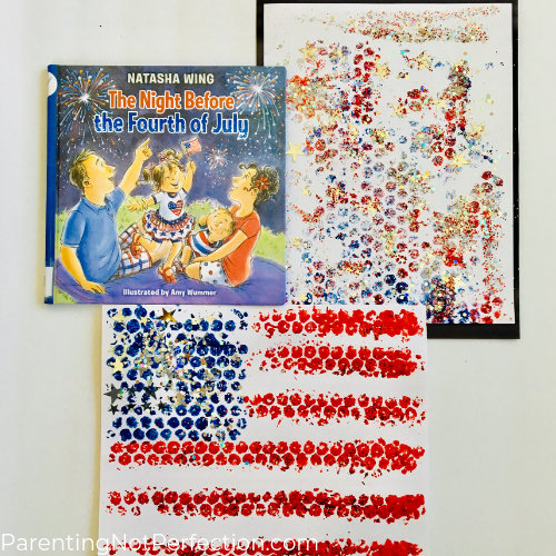 """The Night Before the Fourth of July"" book with patriotic bubble wrap art"