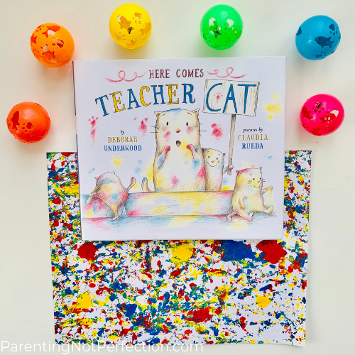 """Teacher Cat"" book with marbled painting and cat toys"