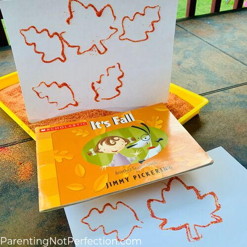 """It's Fall"" book with pumpkin spice sand leaf print art"