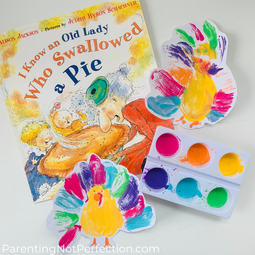 i know an old lady who swallowed a pie book with colorful turkey art
