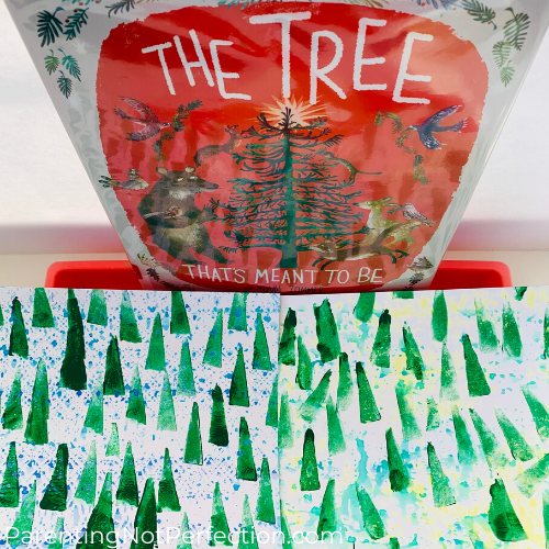 "makeup wedge tree art with ""The Tree That's Meant to Be"" book"