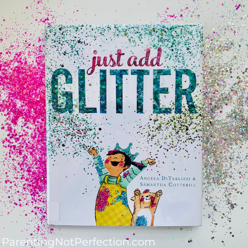 Just Add Glitter book with pink and silver glitter strewn about