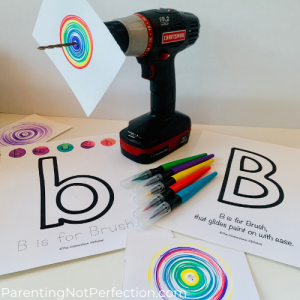 painting with a power tool art with masterpiece alphabet Bb & pre-filled paintbrushes