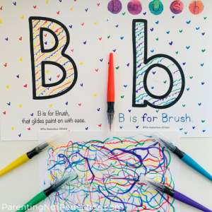 The Masterpiece Alphabet letter Bb printables with power tool painting art.