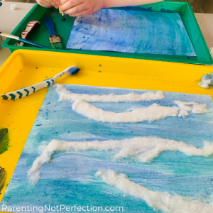 watercolor art using watercolor paint and unrolled cotton balls