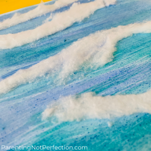 close up of watercolor art using watercolor paint and unrolled cotton balls