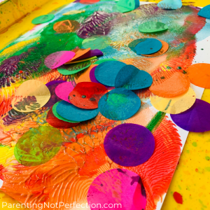 close up of confetti pop art