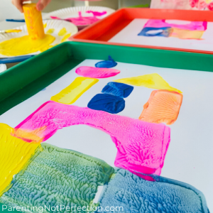 close up of painting with blocks
