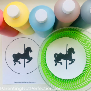 paint bottles, uncut carousel horse spin art printable and cut printable in salad spinner.